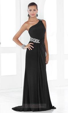 Attractive Sheath / Column One Shoulder Floor-length Chiffon Black Military Ball Dresses