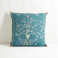 Silk Floral Folk Cushion (Teal)