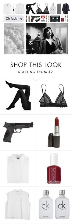 """Heaven knows"" by semantisch ❤ liked on Polyvore featuring Wolford, Eberjey, CASSETTE, Smith & Wesson, Comme des Garçons, MAC Cosmetics, Essie, Monki, Calvin Klein and MANGO"