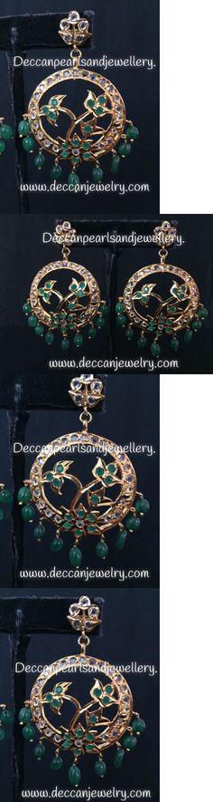 Earrings 98510: Hyderabadi Jadau Chandbali Earrings In Green , Indian Pakistani Jewellery -> BUY IT NOW ONLY: $35 on eBay!
