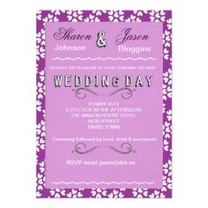 Modern Typography Wedding Invitation Purple White Hearts   A modern typography style wedding invitation in shades of purple and white with a ditsy sweet love hearts pattern.. A stylish design; bound to impress your guests and set the tone for a perfect wedding day.