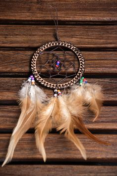 Hand Made Small Dream Catchers With Feathers Brown