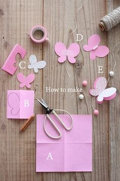 Discover thousands of images about How to Make Easy DIY Paper Butterflies Butterfly Mobile, Butterfly Party, Butterfly Crafts, Butterfly Wall, Kids Crafts, Diy And Crafts, Paper Butterflies, Paper Flowers, Paper Flower Garlands