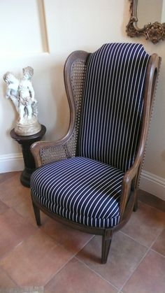 New cover for wing chair with caning Cane Furniture, Furniture Upholstery, Chair Makeover, Furniture Makeover, Toddler Lounge Chair, Black Dining Room Chairs, Hammock Swing Chair, Cheap Chairs, Chairs For Small Spaces