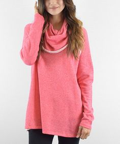 Another great find on #zulily! Coral Two-Tone Draped Neck Terry Tunic #zulilyfinds