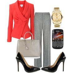 Olivia Pope inspired outfit (gray featured of course!) Not crazy about the blouse color.Black or whtie would be better imho Olivia Pope Outfits, Olivia Pope Style, Office Fashion, Business Fashion, Work Fashion, Business Casual Attire, Business Outfits, Grey Pants Outfit, Grey Slacks