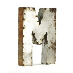 Industrial Rustic Metal Small Letter M 18 Inch ($136) ❤ liked on Polyvore featuring home, home decor, office accessories and metal sculpture