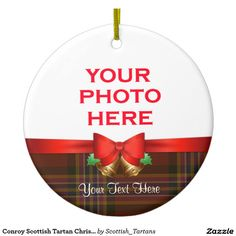 Conroy Scottish Tartan Christmas Photo Double-Sided Ceramic Round Christmas Ornament