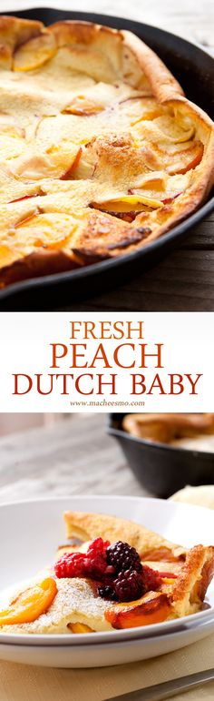 Fresh Peach Dutch Baby: In-season, perfect peaches cooked with a fluffy pancake in a cast iron skillet and served with a quick berry syrup. A perfect late summer breakfast!   macheesmo.com