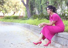 fuchsia pink, pencil dress, pink heels, lovely, spring, summer