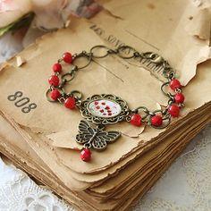Illustrated Bracelet  Poppies by Minasmoke on Etsy, $26.50