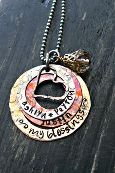 Personalized Necklace - Handstamped Mothers Jewelry - Stacked Washers - Mixed Metals. $55.00, via Etsy.