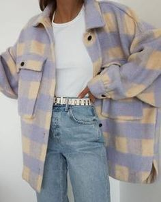 Winter Dress Outfits, Casual Dress Outfits, Indie Outfits, Spring Outfits, Grunge Outfits, Flannel Shirt Outfit, Flannel Coat, Pink Jacket, Tweed Jacket