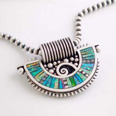 Silver Fan Shaped Pendant with Iridescent Mosaic by LizardsJewelry,