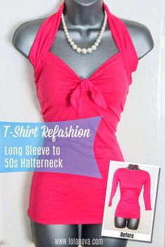 ❤️Turn A Long Sleeve Shirt Into A 50's Halterneck❤️ #Fashion #Trusper #Tip