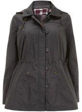 Evans Grey Hooded Wax Jacket