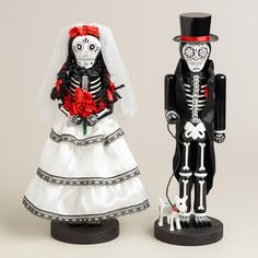 "14"" Wooden Los Muertos Nutcrackers, Set of 2 