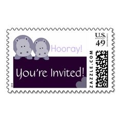 Hippo Hippo Hooray! Stamps! Make your own stamps more personal to celebrate the arrival of a new baby. Just add your photos and words to this great design.