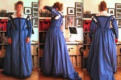 A woman walks us through her creation of the shown dress. Also shown on the page is documentation of women in blue dresses, and period art off of which she based her design.