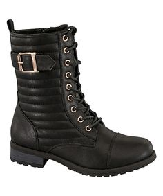 Look at this Black Buckle Mariam Boot on #zulily today!