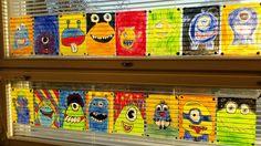 """""""Örkit ikkunassa"""". Laminointikalvon väliin piirrettyjä ja väritettyjä """"örkkejä"""". Rajaus mustalla permanent -tussilla. Lopuksi kuumalaminointi. (Alakoulun aarreaitta FB -sivustosta / Heidi Luttinen)"""