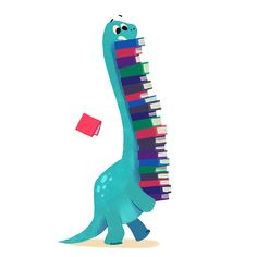 Bookish dinosaur illustration by Bonnie Pang Sheldon The Tiny Dinosaur, Dinosaur Dinosaur, Dinosaur Fabric, I Love Books, Books To Read, My Books, Scrapbook Bebe, Image Deco, Art And Illustration