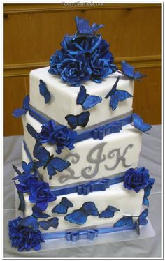 Blue Roses and Butterflies Square Wedding Cake
