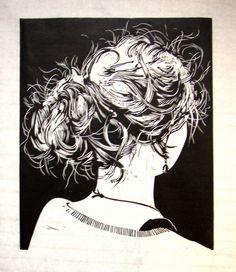 """knotje 3"" - Hair bun. Linocut, black etching ink on Chinese paper by Marten Hazelaar http://www.flickr.com/people/martenhazelaar/. Tags: Linocut, Cut, Print, Linoleum, Lino, Carving, Block, Woodcut, Helen Elstone, Human, Woman, Hair, Posterior, Head."