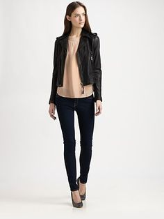 Joie - Ailey Leather Jacket - Saks.com Moto Jacket, Leather Jacket, Saks Fifth Avenue, Caviar, Personal Style, My Style, Jackets, Shopping, Colors