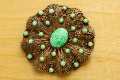 Bold Art Deco brooch to adorn jackets this fall! #FallOfTheBrooch at VintageCravens.com
