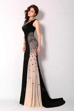 Stunning Mermaid High Neck One Shoulder Crystal Beaded Black Prom Evening Dress - Evening Dresses Cocktail Dresses Online, Evening Dresses Online, Cheap Evening Dresses, Womens Cocktail Dresses, Elegant Dresses, Sexy Dresses, Evening Gowns, Fashion Dresses, Beautiful Dresses
