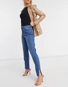 Missguided Wrath Straight Jeans With High Waistband And Side Slits In Blue | ASOS Asos, Estilo Denim, Denim Fashion, Missguided, Duster Coat, Jackets, Blue, Shopping, Color Azul