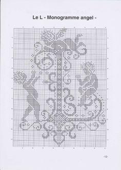 R - Monogramme Angel Monogram Cross Stitch, Cross Stitch Alphabet, Cross Stitch Samplers, Counted Cross Stitch Patterns, Cross Stitch Charts, Cross Stitch Designs, Cross Stitching, Cross Stitch Embroidery, Cross Stitch Angels