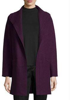 Eileen Fisher Boiled Wool Funnel-Neck Coat, Deep Raisin