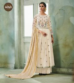 e0c6989cdf Occasion Wear Off White Hand Work Anarkali Suit In Art Silk Fabric With  Heavy Dupatta