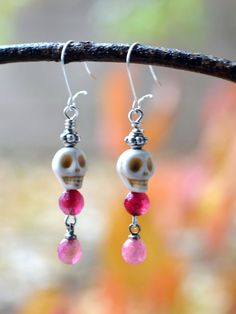 Tiny Pink and White Skull Earrings  #edgy #cutegirl #indiestyle #glam #greenliving