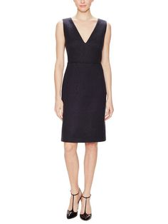 Wool Textured  V-Neck Dress by Calvin Klein Collection at Gilt