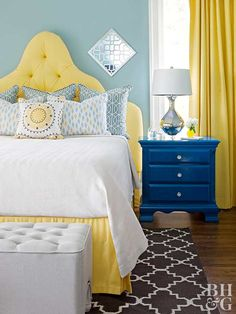 6 Incredible Diy Ideas: Natural Home Decor Modern Apartment Therapy simple natural home decor beach houses.Natural Home Decor Living Room Fireplaces natural home decor wood interior design.Natural Home Decor Bedroom Headboards. Pale Yellow Bedrooms, Blue Bedroom, Home Decor Bedroom, Girls Bedroom, Blue And Yellow Bedroom Ideas, Master Bedroom, Decor Room, Bedroom Wall, Master Bath