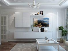 Гостиная. Интерьер квартиры в светлых тонах на ул. Бухарестская