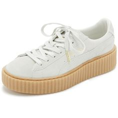 PUMA Puma x Rihanna Creeper Sneakers (€110) ❤ liked on Polyvore featuring shoes, sneakers, white, zapatos, leather sneakers, leather platform sneakers, puma shoes, platform sneakers and white lace up sneakers