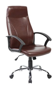 United Black Faux-leather/Chrome High-back Office Task Chair (Brown)