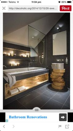 BATHROOM GOALS ✔️  The lighting The in built storage  The bathtub  The stacked wood