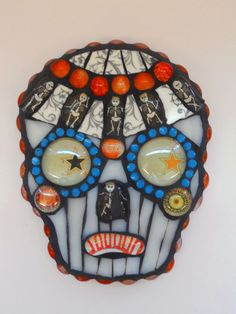 Day of the Dead Skull-  Starry Eyed Calavera in Mosaic. $145.00, via Etsy.