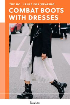 Combat boots are everywhere this fall and while they're super easy to wear with jeans, here's the number one way to wear them with dresses. #combat #boots #dresses Combat Boots Dress, Ankle Boots With Leggings, Dress With Boots, 90s Throwback, Super Easy, Autumn Fashion, Ballet Skirt, Skinny Jeans, Sleeves