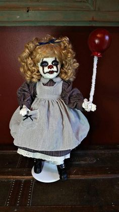"""One-of-a-kind Upcycled Repurposed Porcelain Doll """"It"""" Inspired """"Penny Is Penniless"""" creepy Doll Art. Shows Some Wear To Upcycled Parts. See Photos of Actual Item. Creepy Doll Costume, Creepy Doll Halloween, Creepy Baby Dolls, Halloween Labels, Halloween Horror, Halloween Prop, Halloween 2019, Halloween Costumes, Porcelain Dolls For Sale"""