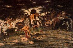 "Giorgio de Chirico (Italian, ""Lotta di centauri/Battle of the Centaurs"" Italian Painters, Italian Artist, Painting Gallery, Art Gallery, Radio Musica, European Paintings, Art Database, Medieval Art, De Chirico"