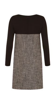 Dual-fabric A-line dress in tweed and wool jersey