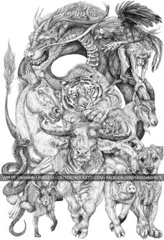 I spent my summer making a massive drawing of the Chinese Zodiac, and I took a photo every day during its completion. Enjoy! - Imgur