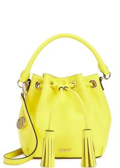 DKNY Bryant Park mini yellow bucket bag #shoulderbag #dkny #covetme