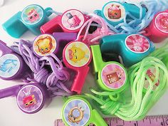 SHOPKINS - Whistle Necklaces Lanyard  birthday party favor pinata girls